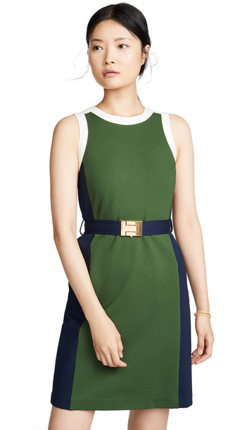 Tory Burch Colorblock Dress in green
