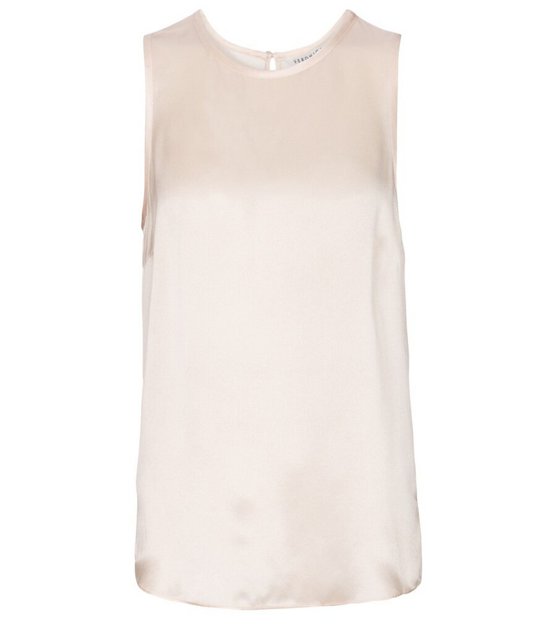 Veronica Beard Sakina silk satin tank top in beige