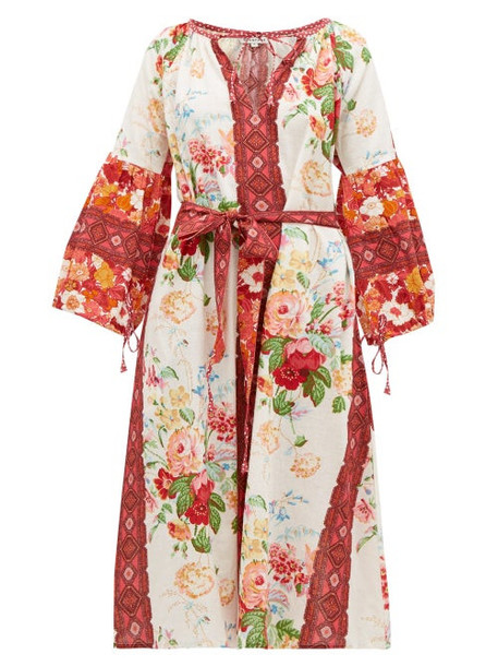 D'ascoli - Melrose Belted Floral-print Cotton Dress - Womens - Red Print