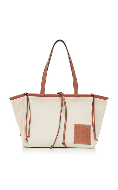 Loewe Cushion Leather-Trimmed Canvas Tote in brown