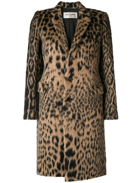 Saint Laurent leopard jacquard single-breasted coat in neutrals
