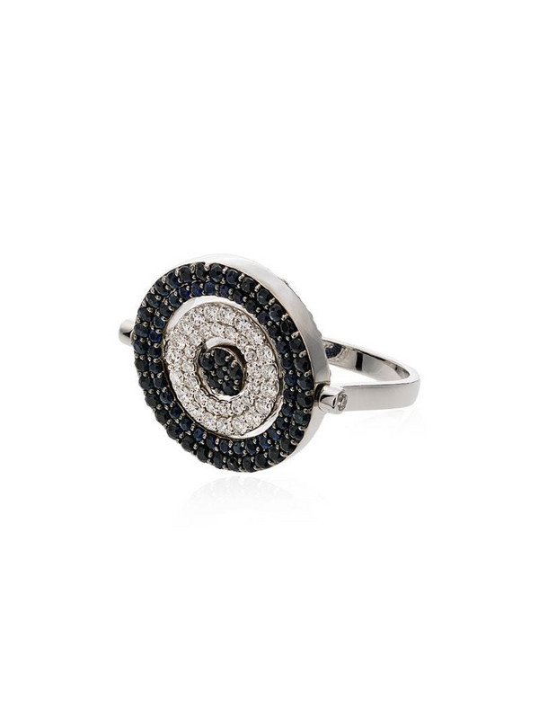Luis Miguel Howard 18kt white gold diamond and sapphire Reverso ring in silver