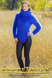 underwear,bodysuit,blue,wool,yarn,fluffy,turtleneck,long turtle neck,long turtleneck,body,mohair