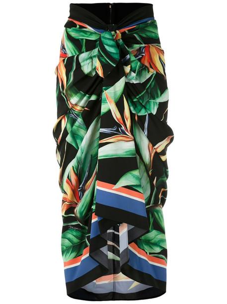 Dolce & Gabbana leaf-print draped skirt