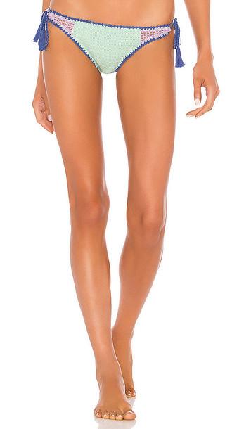 Seafolly Summer Chintz Crochet Tie Side Bikini Bottom in Mint