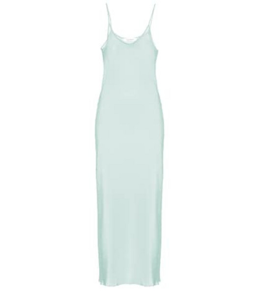 Ryan Roche Silk slip dress in green