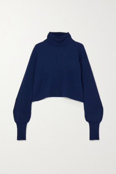Reformation - Luisa Cropped Ribbed Cashmere And Wool-blend Turtleneck Sweater - Navy