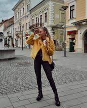 jacket,yellow jacket,faux fur jacket,biker jacket,black jeans,black skinny jeans,black boots,black bag,top