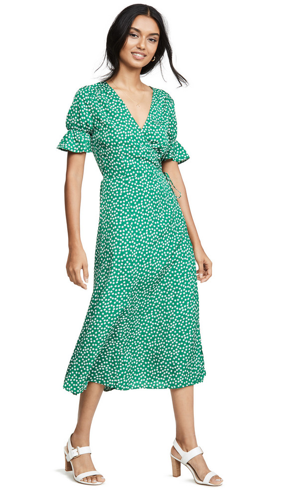 re:named re: named Drew Polka Dot Wrap Dress in green / multi