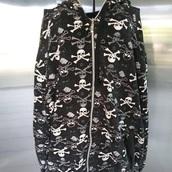 sweater,black,black and white,hoodie,hooded jacket,jacket,skull,skeleton,pattern,black jacket,black sweater,hoody,skull sweater,long sleeves,oversized sweater,oversized jacket,oversized,oversized hoodies,coat,menswear,edgy,emo,goth,grunge,aesthetic,women,mens,mens sweater,mens jacket,instagram,alternative