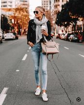 jacket,black leather jacket,skinny jeans,white sneakers,scarf,bag
