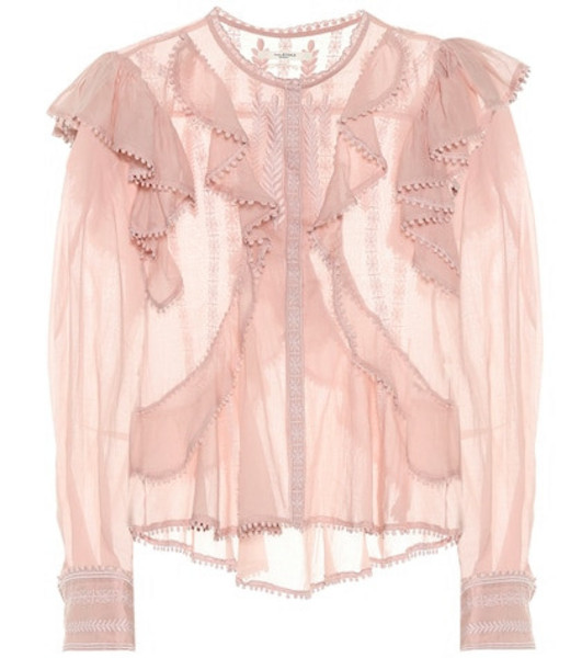 Isabel Marant, Étoile Alea embroidered cotton blouse in pink