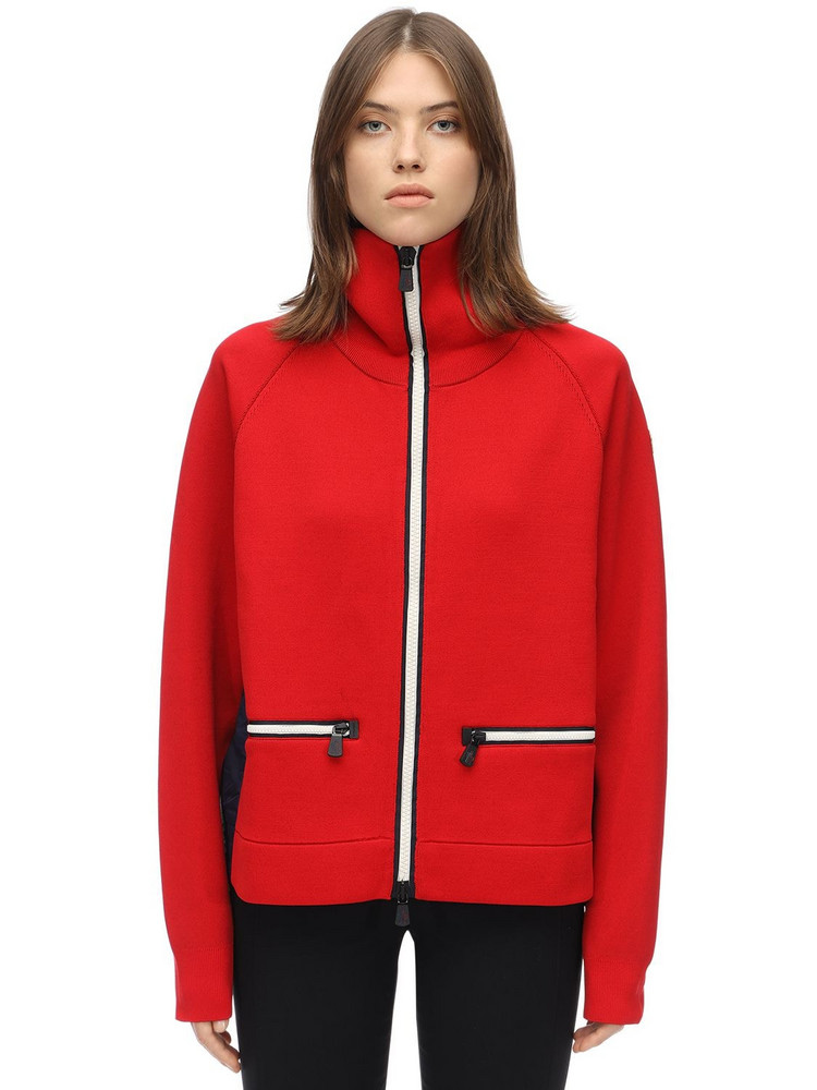 MONCLER GRENOBLE Double Nylon & Wool Sweatshirt in red