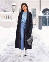 coat,long coat,plaid,navy coat,white boots,cropped jeans,high waisted jeans,dior bag,shoulder bag,blue sweater