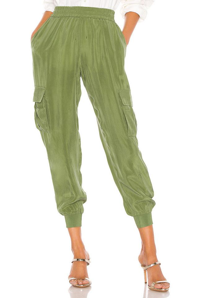 Alice + Olivia Dede Smocked Cargo Pant in green