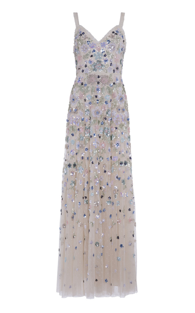 Needle & Thread Wildflower Sequin Gown Size: 8 in white