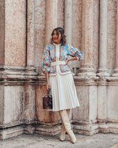 jacket,cropped jacket,embroidered,pleated skirt,white skirt,midi skirt,knee high boots,bucket bag