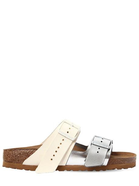 RICK OWENS Birkenstock Arizona Leather Sandals in silver / white