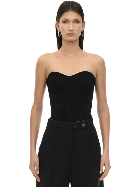 KHAITE Lucie Ribbed Jersey Top in black