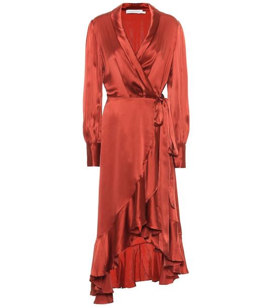 Zimmermann Espionage silk wrap midi dress in red