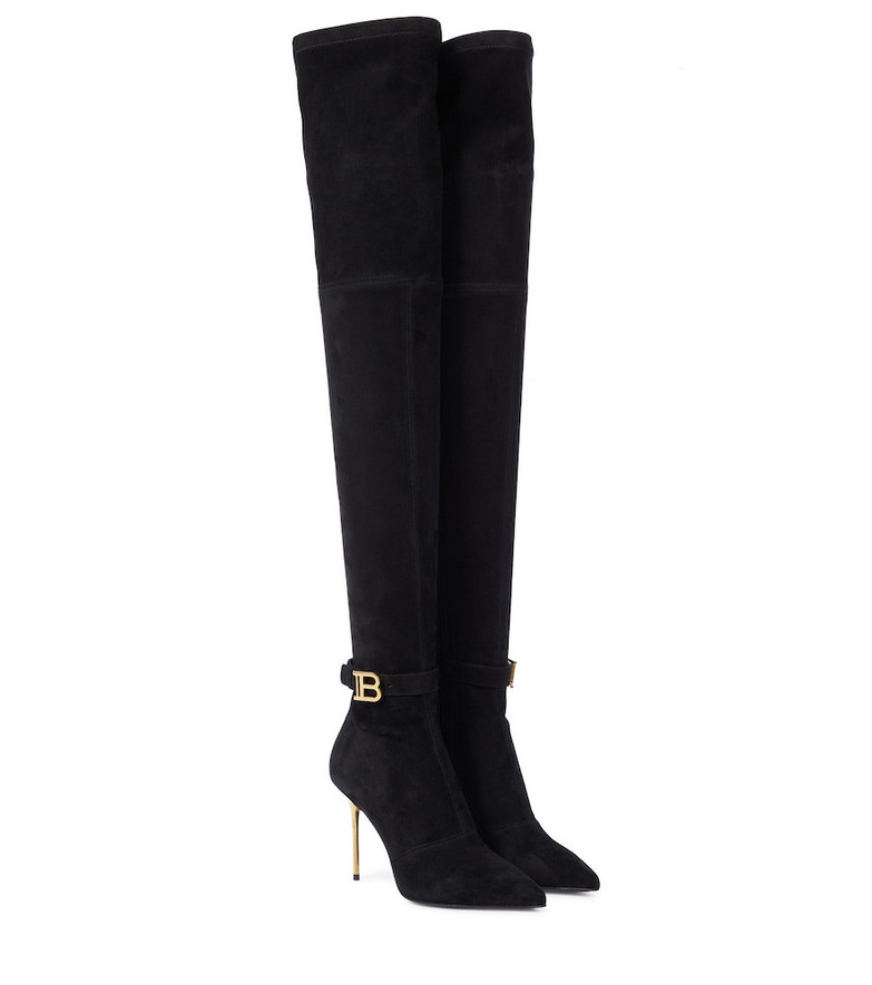 Balmain Raven stretch-suede over-the-knee boots in black