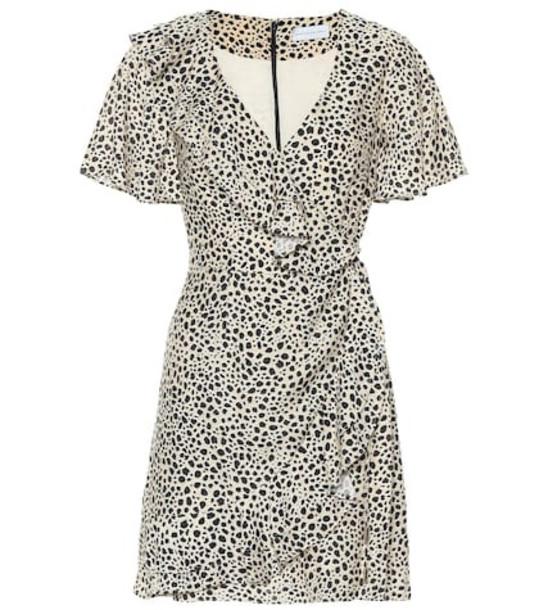 Rebecca Vallance Anya leopard wrap dress in beige