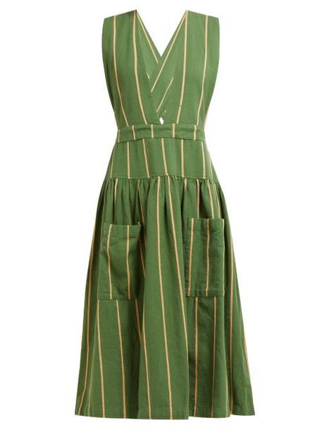 Ace & Jig - Ellen Open Back Striped Cotton Dress - Womens - Green