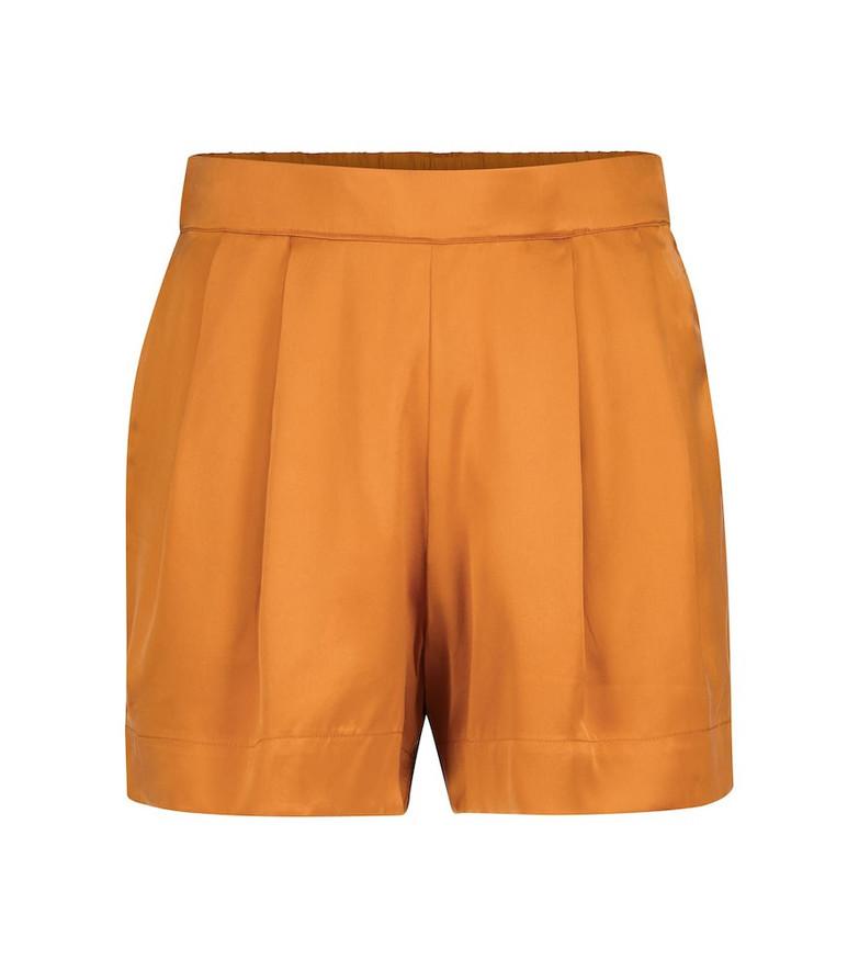 Asceno Zurich silk satin shorts in orange