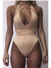 swimwear,criss cross,nude,one piece swimsuit