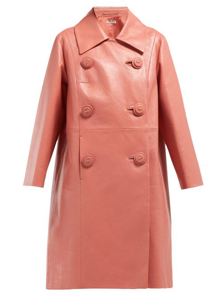 Miu Miu - Double Breasted Leather Coat - Womens - Dark Pink
