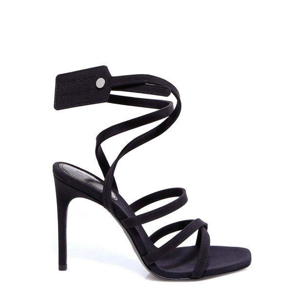Off-White Satin Ziptie Sandal Sandals in black