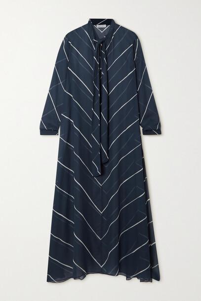 Odyssee - Hoyt Pussy-bow Striped Chiffon Kaftan - Blue