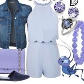 romper,blue,feminine,disney,2 piece set women,cute