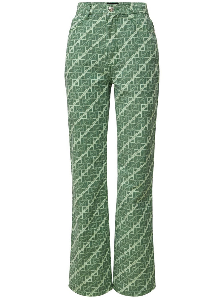 WE11DONE Allover Logo Cotton Straight Pants in green