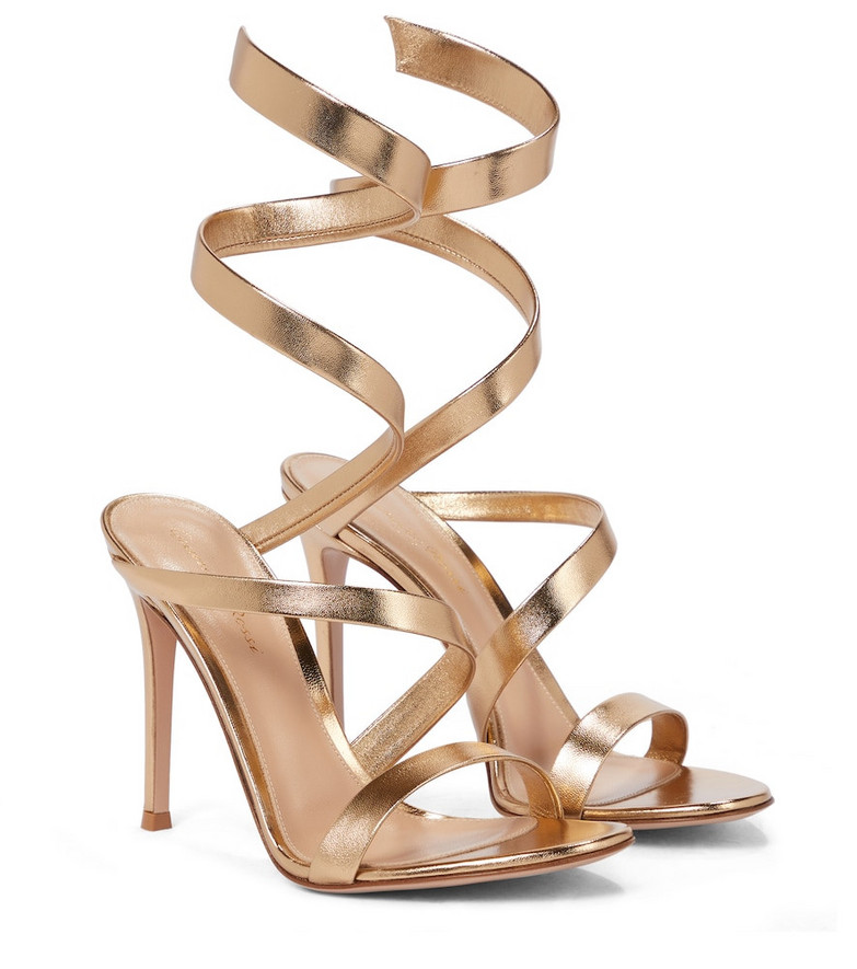 Gianvito Rossi Opera 105 leather sandals in gold