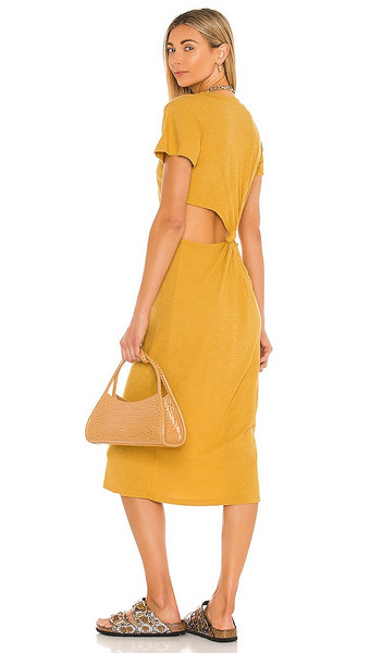 LNA Mayer Tee Dress in Neutral in gold