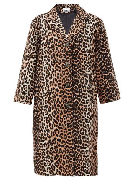 Ganni - Single-breasted Leopard-print Linen-blend Coat - Womens - Leopard