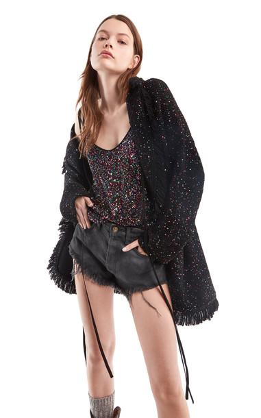 Alanui Starry Night Fringed Wool Cardigan in multi