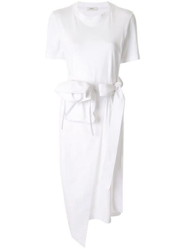 Goen.J tie waist T-shirt dress in white
