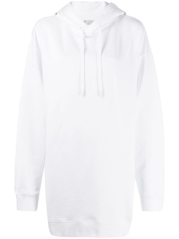 Maison Margiela logo print hoodie dress in white