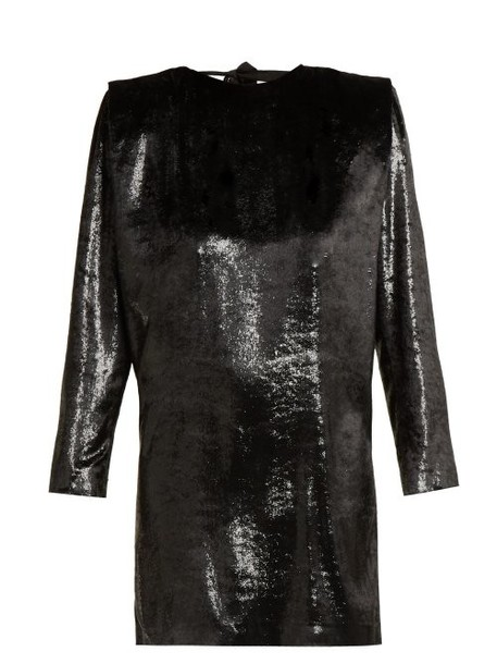 Dundas - Velvet And Lurex Open Back Mini Dress - Womens - Black