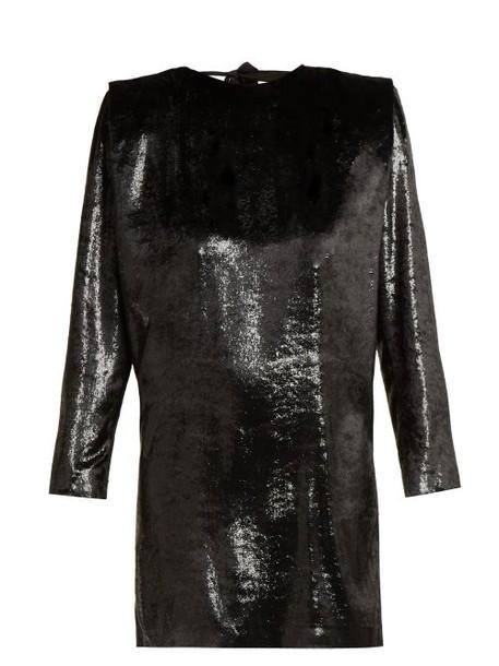 Dundas - Velvet And Lurex Open Back Mini Dress - Womens - Black