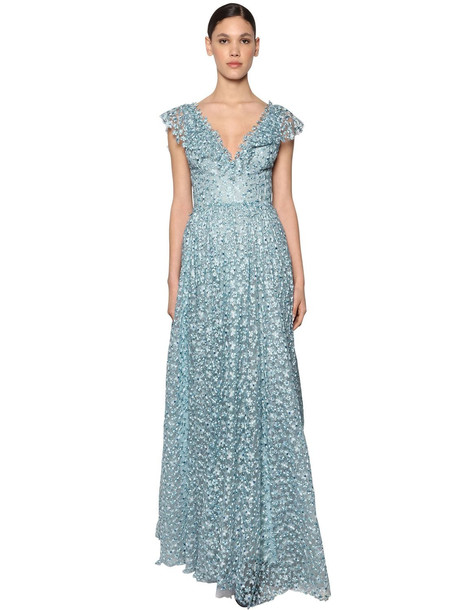 LUISA BECCARIA Long Embroidered Chiffon Dress in blue / multi