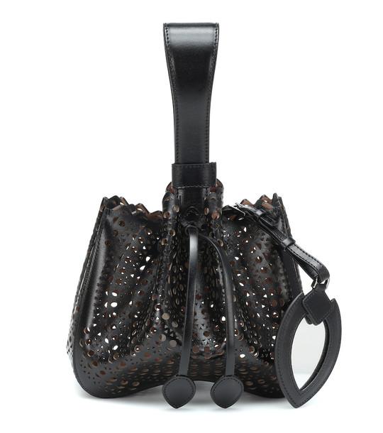 Alaïa Rose-Marie leather clutch in black