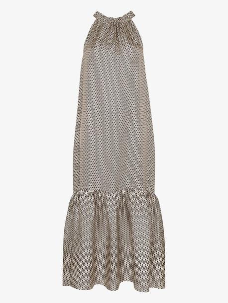 Asceno Ibiza cream crescent silk twill dress