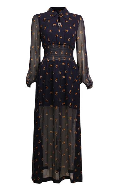 Baum und Pferdgarten Amber Sheer Printed Chiffon Dress Size: 36 in navy