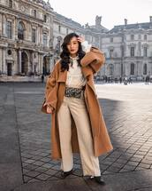 coat,oversized coat,wool coat,long coat,wide-leg pants,high waisted pants,pleated,dior bag,belt bag,blouse,pants,streetstyle,streetwear,fashion vibe,fashion,asos