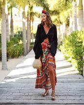 skirt,floral skirt,maxi skirt,high waisted skirt,flat sandals,handbag,black top,headband