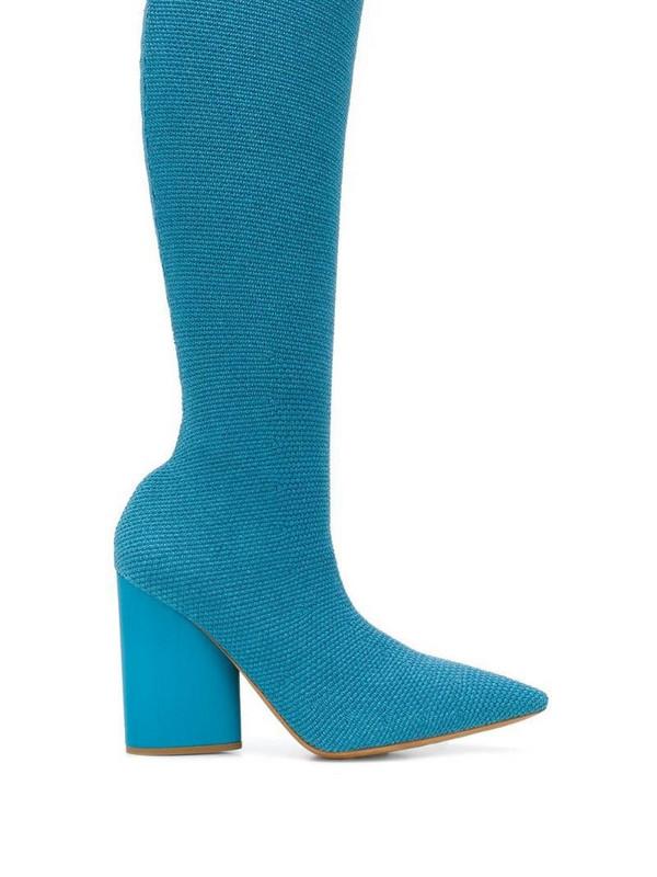 Yeezy knee high sock boots in blue