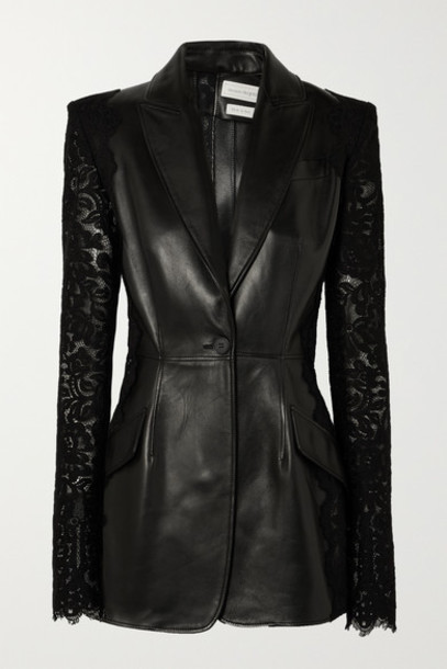 Alexander McQueen - Lace-paneled Leather Blazer - Black